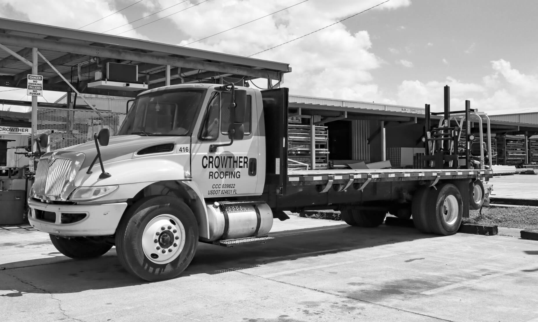 Crowther flatbed truck b&w